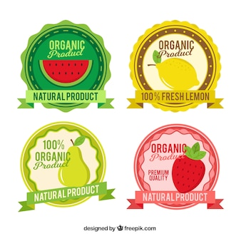 Assortment of four round fruit labels