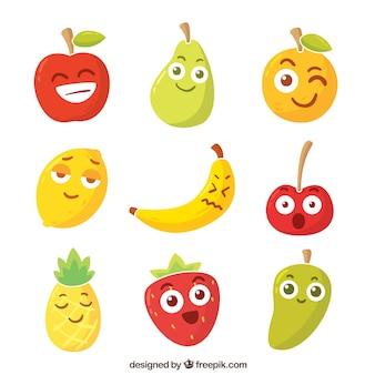 Assortimento di frutta caratteri con le espressioni facciali