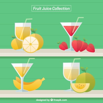 Assortment of fruit juices in flat design