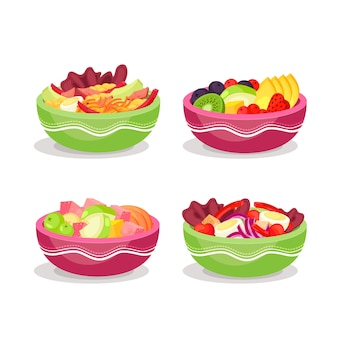 Assortment of fruit and salad bowls
