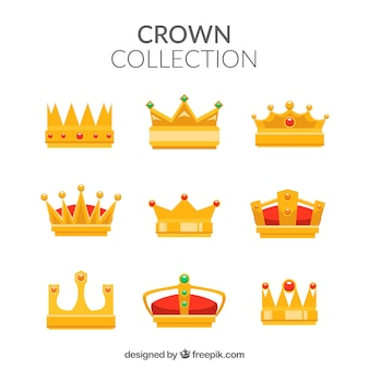 Assortment of gold crowns in flat design