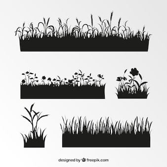 Assortment of grass silhouettes with great designs