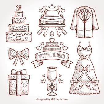 Assortment of hand-drawn decorative elements for weddings