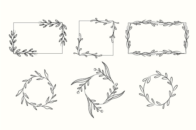 Assortment of hand drawn ornamental frames