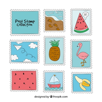 Assortment of hand-drawn post stamps