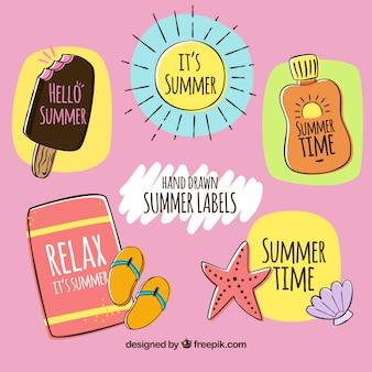 Assortment of hand-drawn summer stickers
