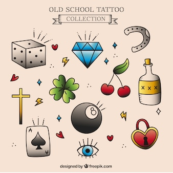 Assortment of hand-drawn tattoos