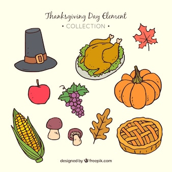 Assortment of hand drawn thanksgiving elements