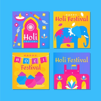 Assortment of instagram posts for holi festival