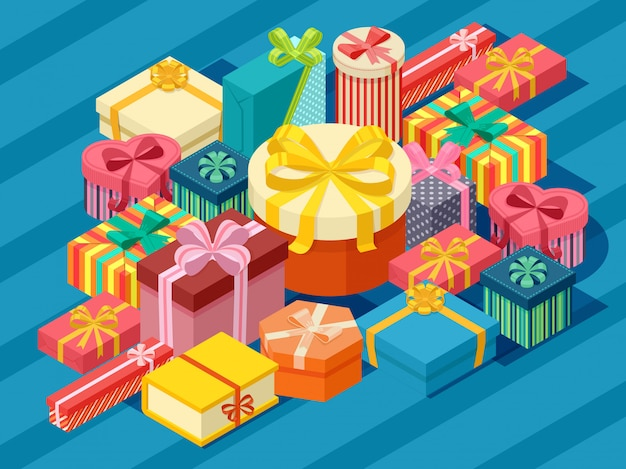 Assortment of isometric present boxes