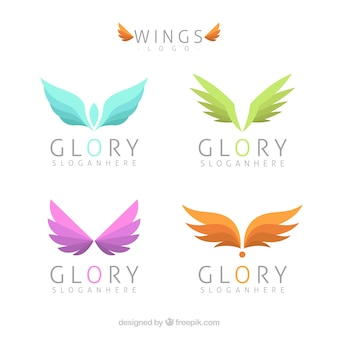 Assortment of logos with colored wings