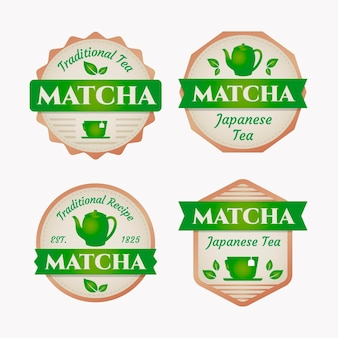 Assortment of matcha tea badges