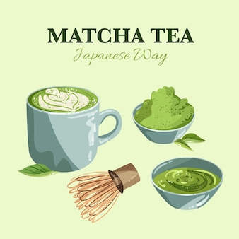 Assortment of matcha tea