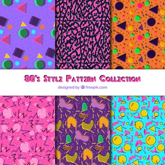Assortment of modern patterns with colorful shapes