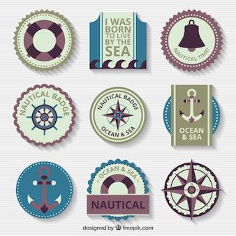 Assortimento di badge nautiche in stile vintage