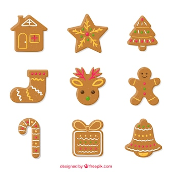 Assortment of nice and delicious gingerbread cookies