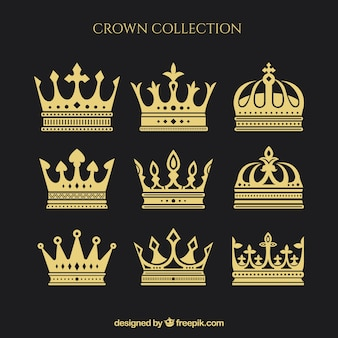 Assortment of nine crowns in flat design