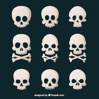 Assortment of nine skulls in flat design
