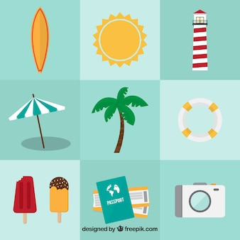 Assortment of nine summer objects in flat design