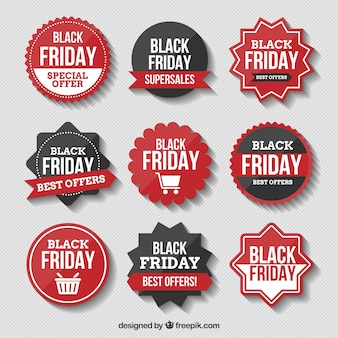 Assortment of black friday stickers