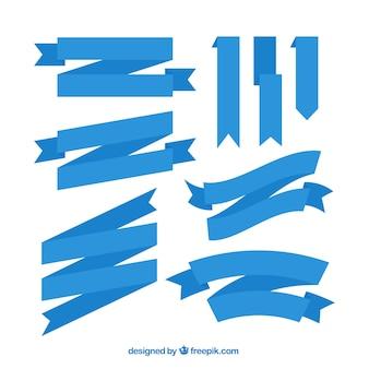 フラットデザインの青いリボンの盛り合わせ 無料ベクター