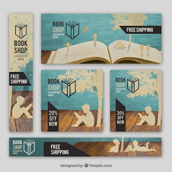 Assortment of bookstore banners