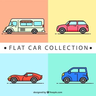 フラットなデザインの車の品揃え