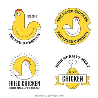 黄色の要素を持つ鶏のロゴの品揃え