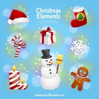 クリスマスの装飾品や雪だるまの盛り合わせ
