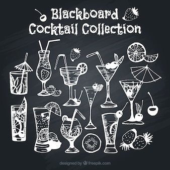 Assortment of cocktails on blackboard effect