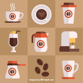 커피 액세서리의 구색 무료 벡터