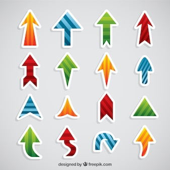 Assortment of decorative sticker of arrows