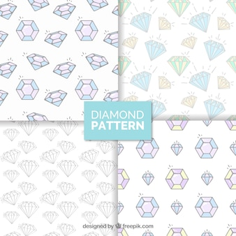 フラットなデザインのダイヤモンドパターンの詰め合わせ