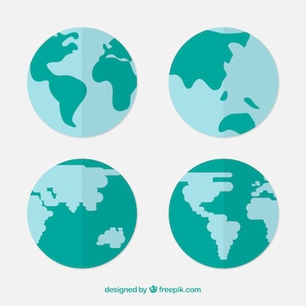 푸른 색조의 지구 글로브의 구색