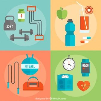 健康的な生活のための要素の盛り合わせ