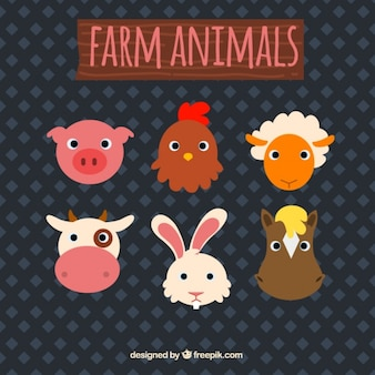 農場の動物の絵文字の盛り合わせ