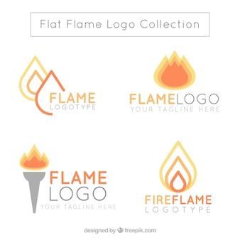 평면 디자인의 불꽃 로고 구색