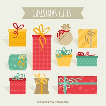 Assortment of flat christmas gifts  with great designs