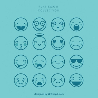 Assortment of flat emojis in blue tones