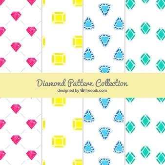 色の付いた宝石の4つのフラットパターンの品揃え