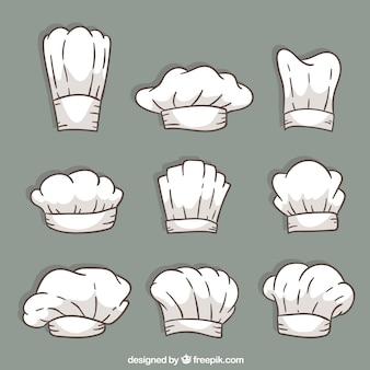 다양한 디자인의 손으로 그린 요리사 모자 구색