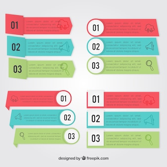 Ассортимент инфографических баннеров различных цветов и форм