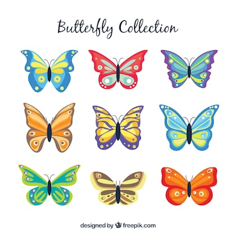 평면 디자인 9 컬러 나비의 구색