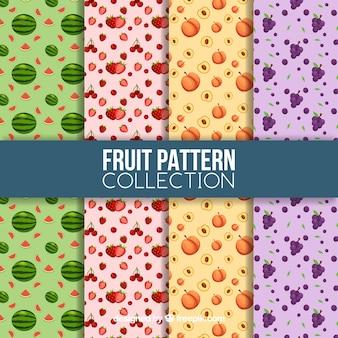 Ассортимент узоров с плодами в плоском дизайне