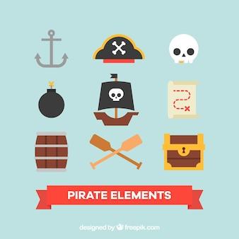 Ассортимент пиратских элементов в плоском дизайне