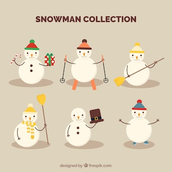 Assortment of snowmen with holding different objects