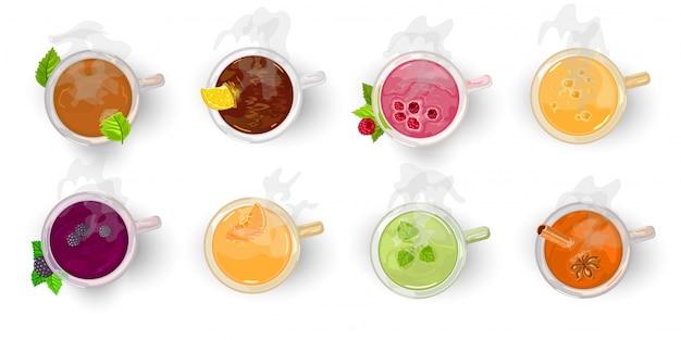 Ассортимент чая, напиток вид сверху