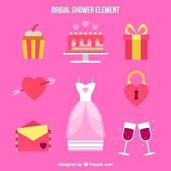Ассортимент свадебных аксессуаров в плоском дизайне