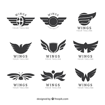 Assortment of wings logos in flat design