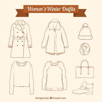 Assortment of winter clothing and hand drawn accessories
